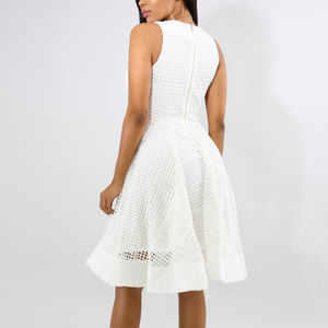 b588fdaa810 Dresses - White Pea Net Fit N Flare Midi Dress